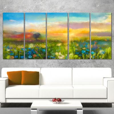 Designart Sunset Meadow Landscape Contemporary Canvas Art Print - 5 Panels