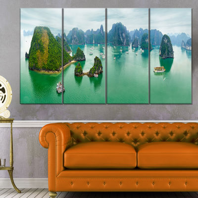 Designart Tourist Junks At Ha Long Bay Vietnam Landscape Art Print Canvas - 4 Panels