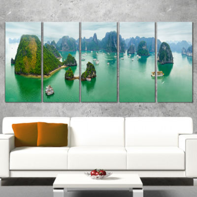Design Art Tourist Junks At Ha Long Bay Vietnam Landscape Art Print Canvas - 5 Panels