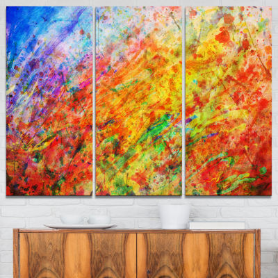 Designart Orange And Yellow Stain Watercolor Animal Canvas Art Print - 3 Panels
