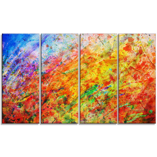 Designart Orange And Yellow Stain Watercolor Animal Canvas Art Print - 4 Panels