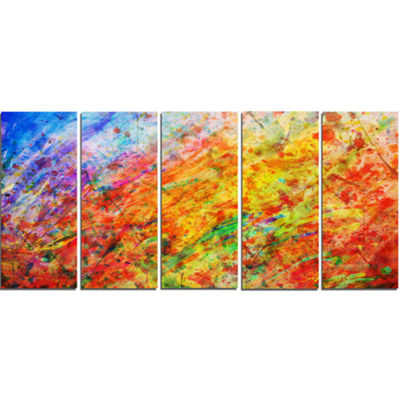 Designart Orange And Yellow Stain Watercolor Animal Canvas Art Print - 5 Panels