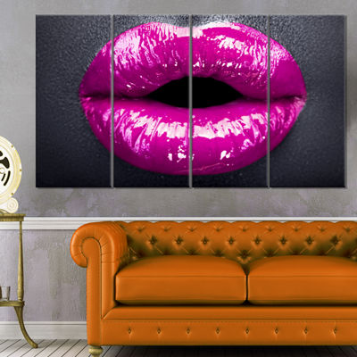Designart Purple Lip Makeup Modern Portrait CanvasArt Print - 4 Panels