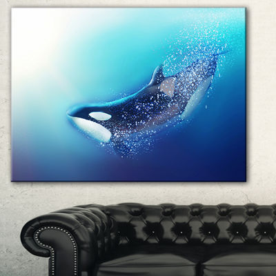 Design Art Killer Whale And Sea Animal Canvas Art Print