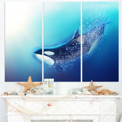 Designart Killer Whale And Sea Animal Canvas Art Print - 3 Panels