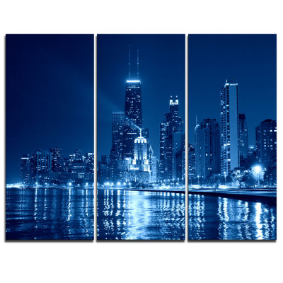 Designart Blue Chicago Skyline Night Cityscape Photo Canvas Print - 3 Panels