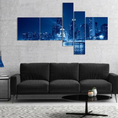 Designart Blue Chicago Skyline Night Cityscape Photo Canvas Print - 5 Panels
