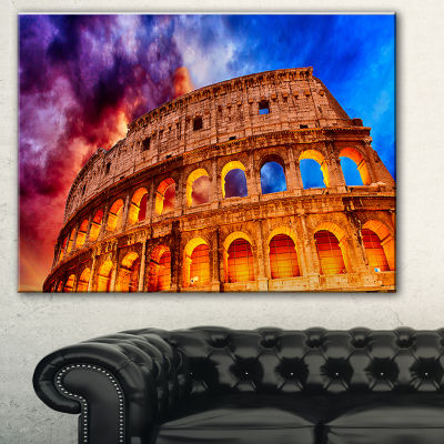 Design Art Colosseum Rome Italy Monumental Photo Canvas Print