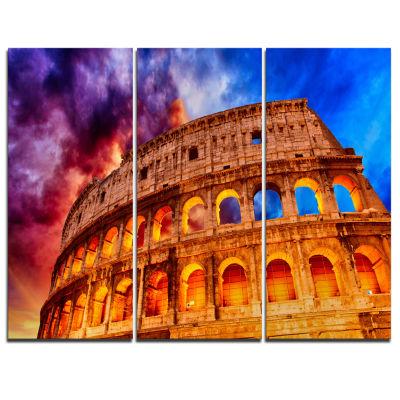 Designart Colosseum Rome Italy Monumental Photo Canvas Print - 3 Panels