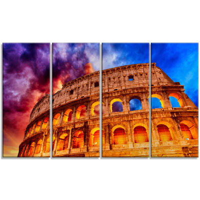 Design Art Colosseum Rome Italy Monumental Photo Canvas Print - 4 Panels