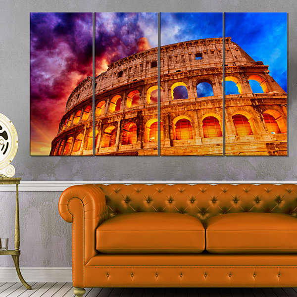 Designart Colosseum Rome Italy Monumental Photo Canvas Print - 4 Panels