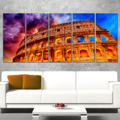 Design Art Colosseum Rome Italy Monumental Photo Canvas Print - 5 Panels