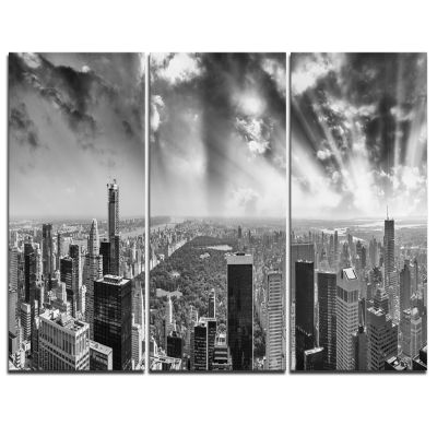 Design Art Central Park And Surrounding Buildings Cityscape Photo Canvas Print - 3 Panels