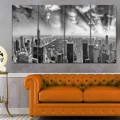Designart Central Park And Surrounding Buildings Cityscape Photo Canvas Print - 4 Panels