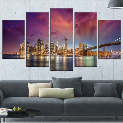 Designart New York City Manhattan Skyline Red (373) Cityscape Photo Canvas Print - 5 Panels