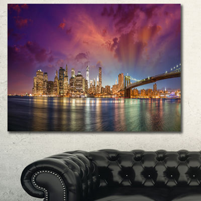 Design Art New York City Manhattan Skyline Red Cityscape Photo Canvas Print