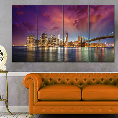 Designart New York City Manhattan Skyline Red Cityscape Photo Canvas Print - 4 Panels