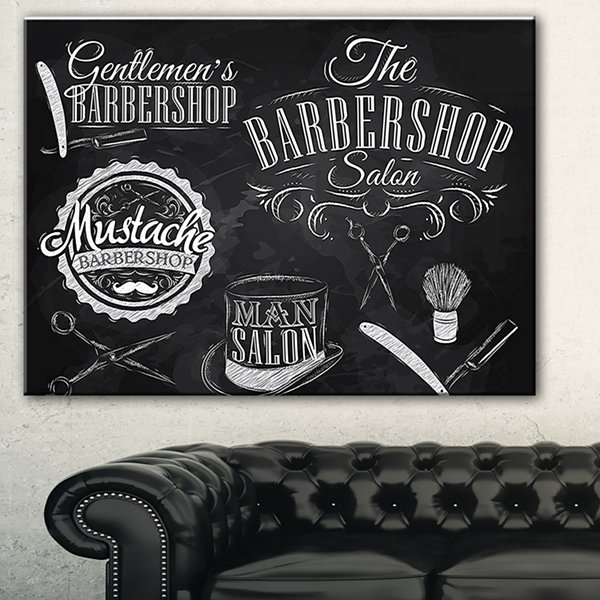 Design Art Set Barbershop Abstract Print On Canvas