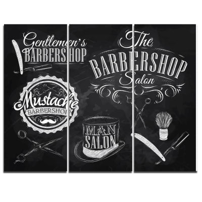 Designart Set Barbershop Abstract Print On Canvas-3 Panels