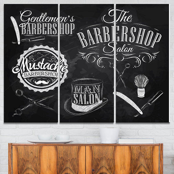 Design Art Set Barbershop Abstract Print On Canvas- 3 Panels