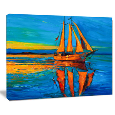 Design Art Brown Sailing Boat Seascape Canvas Art Print