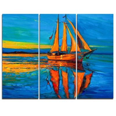 Design Art Brown Sailing Boat Seascape Canvas Art Print - 3 Panels
