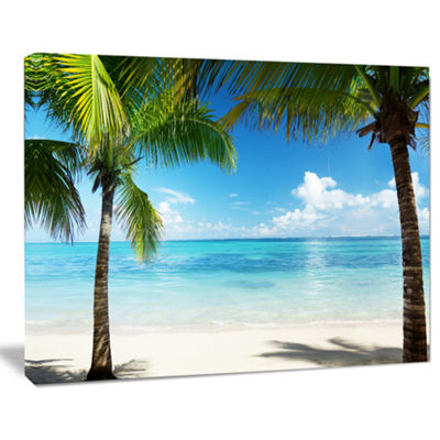 Designart Palm Trees And Sea Landscape PhotographyCanvas Print