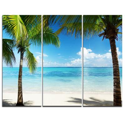 Designart Palm Trees And Sea Landscape PhotographyCanvas Print - 3 Panels