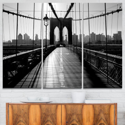 Design Art Dark Brooklyn Bridge Cityscape Photo Canvas Print - 3 Panels