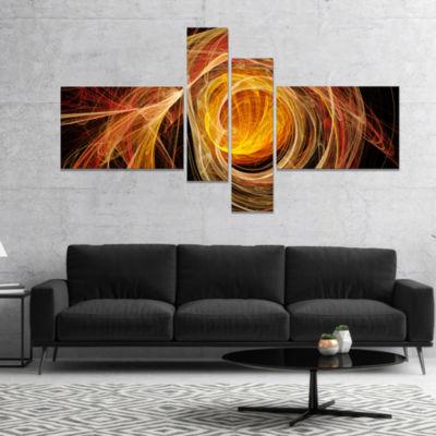 Designart Orange Ball Of Yarn Abstract Canvas ArtPrint - 4 Panels