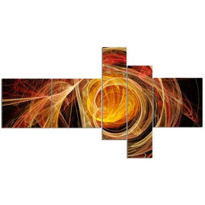 Designart Orange Ball Of Yarn Abstract Canvas ArtPrint - 5 Panels