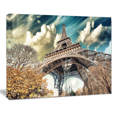 Designart Street View Of Paris Eiffel Tower Cityscape Digital Art Canvas Print