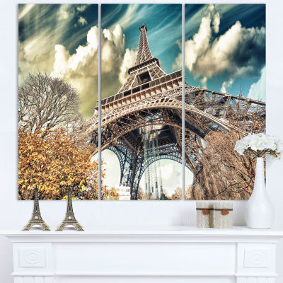 Designart Street View Of Paris Eiffel Tower Cityscape Digital Art Canvas Print - 3 Panels