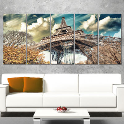 Designart Street View Of Paris Eiffel Tower Cityscape Digital Art Canvas Print - 5 Panels