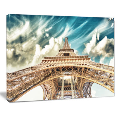 Designart Paris Eiffel Tower Under Blue Sky Photography Canvas Art Print