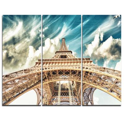 Designart Paris Eiffel Tower Under Blue Sky Photography Canvas Art Print - 3 Panels