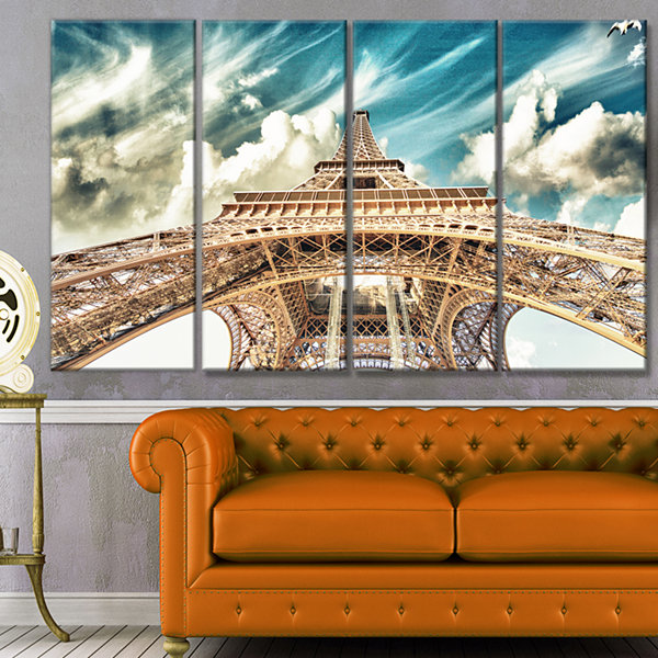 Design Art Paris Eiffel Tower Under Blue Sky Photography Canvas Art Print - 4 Panels