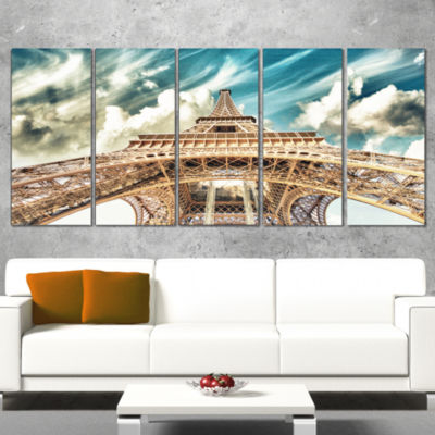 Designart Paris Eiffel Tower Under Blue Sky Photography Canvas Art Print - 5 Panels