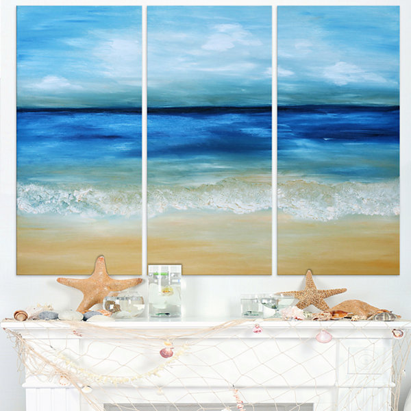 Designart Warm Tropical Sea And Beach Canvas ArtPrint - 3 Panels