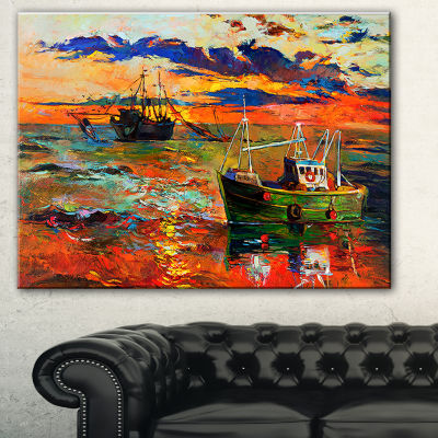 Designart Colorful Fishing Ships Seascape Canvas Art Print