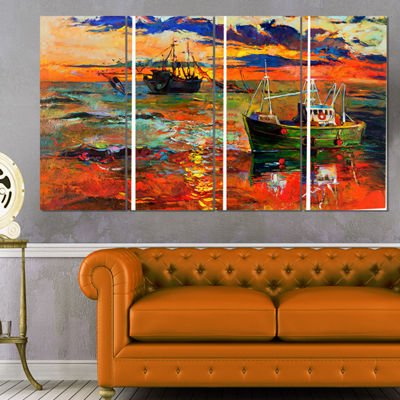 Designart Colorful Fishing Ships Seascape CanvasArt Print - 4 Panels