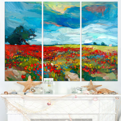 Design Art Colorful Flower Fields Landscape Painting Canvas Print - 3 Panels