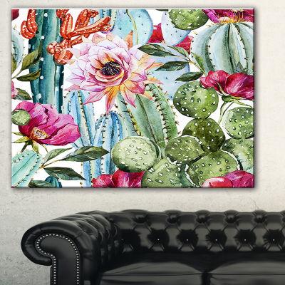 Designart Cactus Pattern Watercolor Floral Art Canvas Print