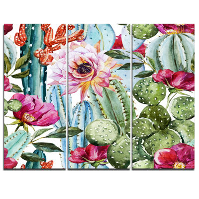 Designart Cactus Pattern Watercolor Floral Art Canvas Print - 3 Panels