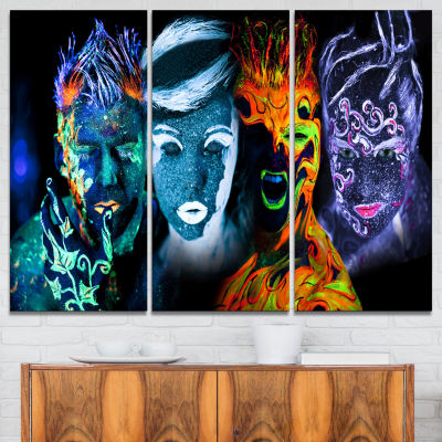 Designart Earth Fire Air And Water Contemporary Portrait Canvas Print - 3 Panels