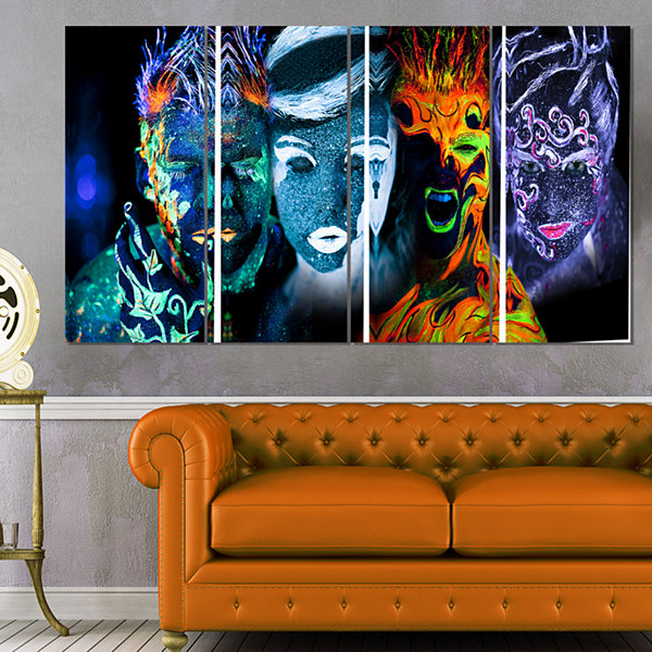 Design Art Earth Fire Air And Water Contemporary Portrait Canvas Print - 4 Panels