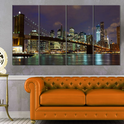 Designart Brooklyn Bridge Panoramic View CityscapePhoto Canvas Print - 4 Panels