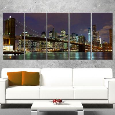 Designart Brooklyn Bridge Panoramic View CityscapePhoto Canvas Print - 5 Panels
