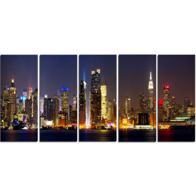 Design Art New York Skyline At Night Cityscape Photo Canvas Print - 5 Panels