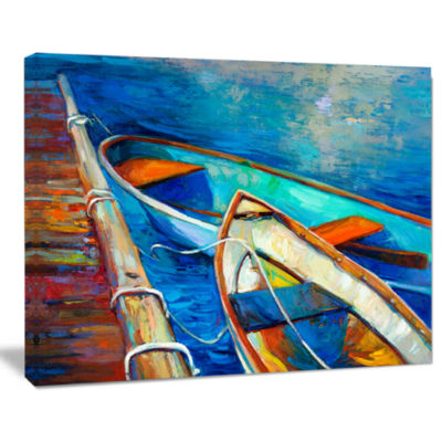 Design Art Boats And Pier In Blue Shade Seascape Canvas Art Print